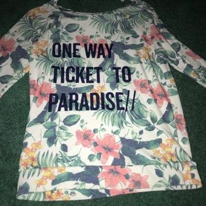 Long sleeve flower tropical shirt with words